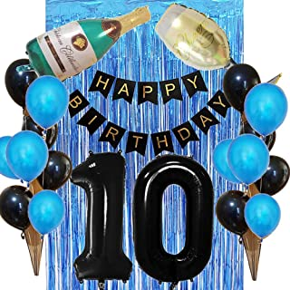 10th Birthday Decorations for Boy Party Supplies-40inch Large 10 Number Balloons,Blue Tinsel Foil Fringe Curtains,Black Happy Birthday Banner,Champage Bottle Balloon as Photo Props