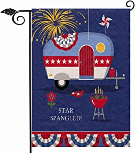 Hzppyz Summer Camping Trailer Garden Flag Double Sided, Patriotic Star Spangled Decorative House Yard Outdoor Small Flag, July 4th Firework Campsite Decor USA Home Outside American Decoration 12 x 18