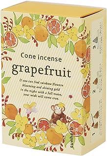 サンハーブ お香 コーンタイプ グレープフルーツ 16粒(インセンス 燃焼時間約20分 シャキっとまぶしい柑橘系の香り)