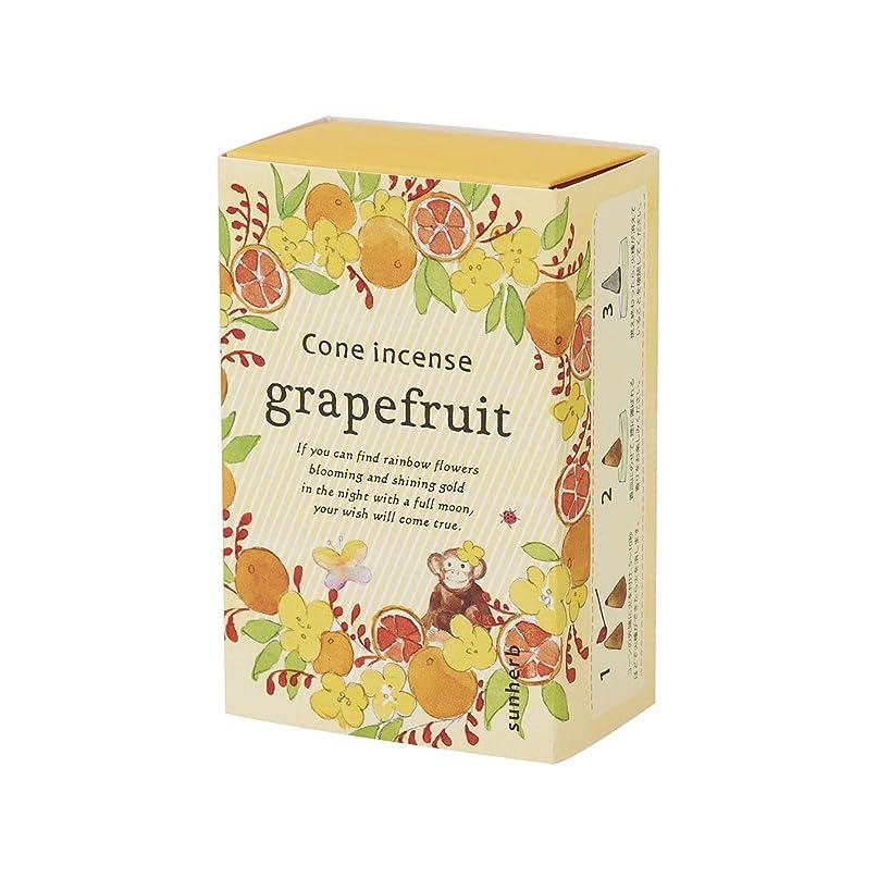 カルシウム配列入射サンハーブ お香 コーンタイプ グレープフルーツ 16粒(インセンス 燃焼時間約20分 シャキっとまぶしい柑橘系の香り)
