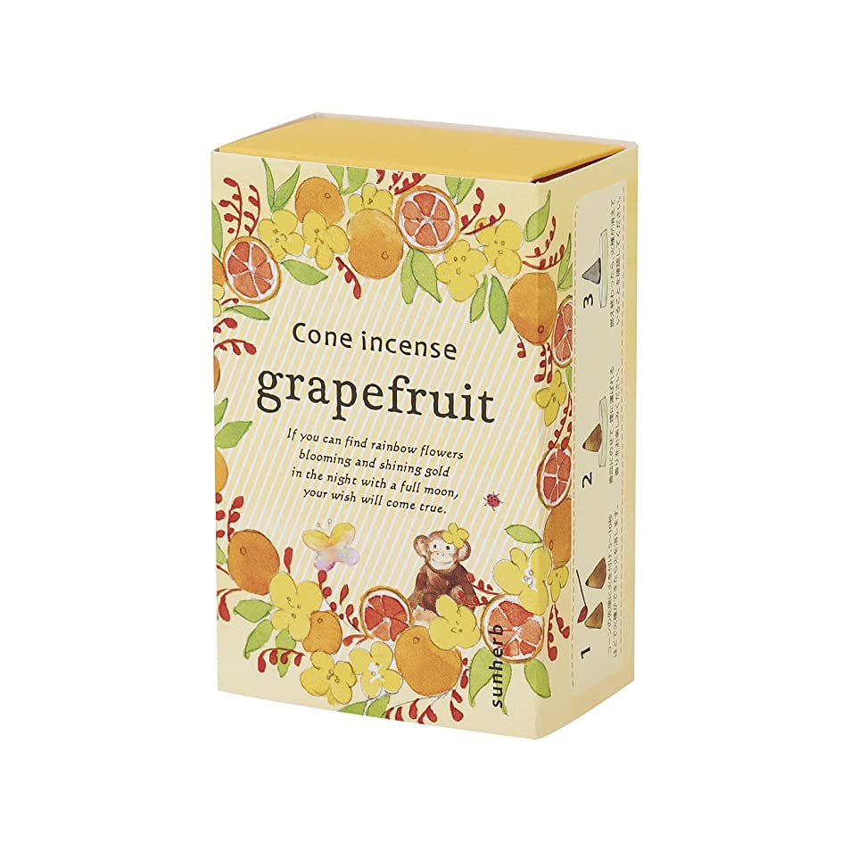 ピーブ持続するサイドボードサンハーブ お香 コーンタイプ グレープフルーツ 16粒(インセンス 燃焼時間約20分 シャキっとまぶしい柑橘系の香り)