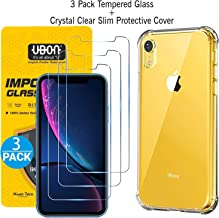 UBON iPhone XR Screen Protector,Tempered Glass Film [Pack of 3] with iPhone XR Case,Clear Anti-Scratch Shock Absorption Cover Case Clear- Combo Pack