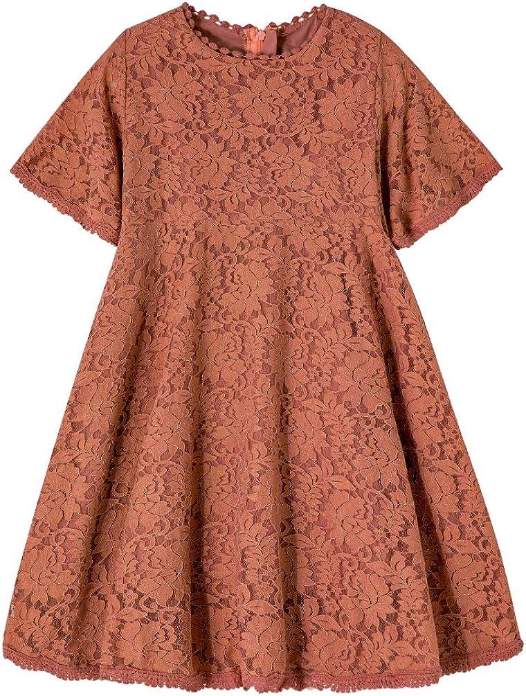 Rysly Flower Girls Lace Flared Short Sleeve Princess Party Dress