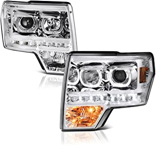 VIPMOTOZ LED Halo Ring Projector Headlight Assembly For 2009-2014 Ford F-150 (Factory Halogen Model) - Metallic Chrome Housing, Driver and Passenger Side