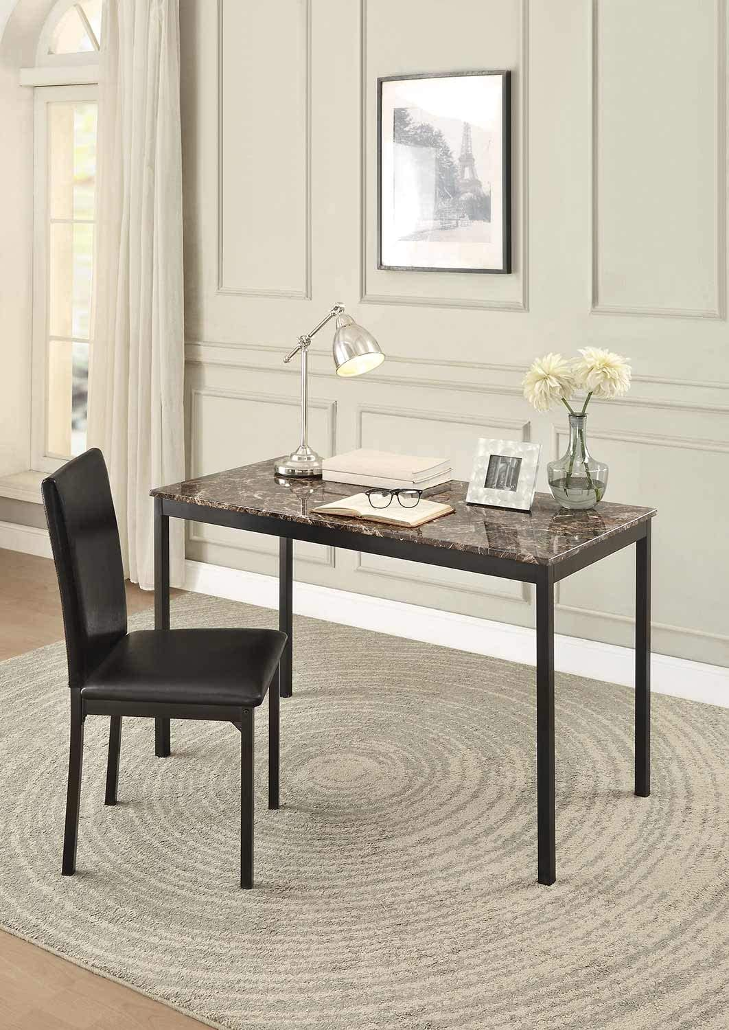 Benzara BM179946 Faux Tulsa Mall Marble Writing Uphol Leatherette with Spring new work one after another Desk