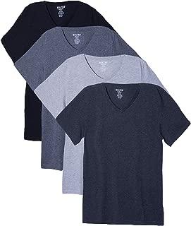 4 Pack Men's Everyday Cotton Blend V Neck Short Sleeve T Shirt