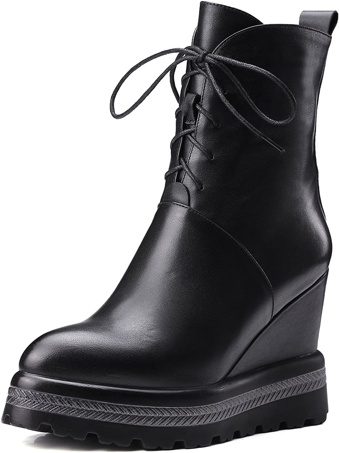 JIEEME Ladies Sexy Zipper Wedges Genuine Leather Ankle Women Boots