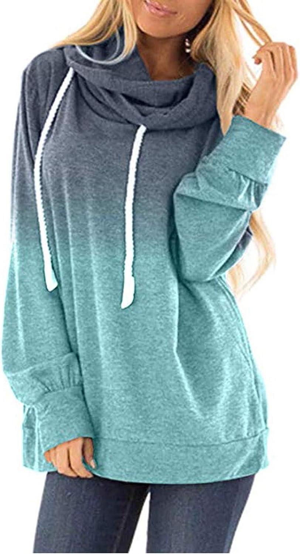 VEKDONE Women Plus Size Cowl Neck Tie Dye Striped Tunic Sweatshirt Drawstring Loose Hoodie Pullover Casual Tops