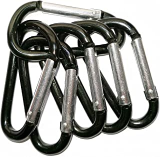 INNX Carabiner Hooks Aluminum Light Duty D-Ring Product Size 3 LX 1.5 W for Home, Rv, Camping, Fishing, Hiking, Travelling Not Suitable for Mountain Climbing 6 pcs/Set Black
