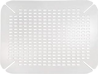 iDesign Alfombrilla escurreplatos, protector de fregadero grande de plástico PVC para fregaderos de cocina, rejilla escurreplatos con orificios de drenaje, transparente