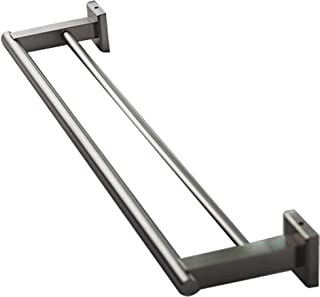 QT Home Decor Premium Modern Double Towel Bar Rack w/Square Base (24 Inches)- Brushed Finish, Made from Stainless Steel, Water and Rust Proof, Wall Mounted, Easy to Install