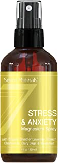 Seven Minerals Stress & Anxiety Magnesium Spray with Organic Blend of Lavender, Roman Chamomile, Clary Sage...