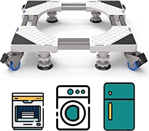 Double Tubes Washing Machine Base with 4 Feet 4 Wheels, Adjustable Movable Furniture Dolly Roller Mobile Base with 4 Feet 4 Locking Rubber Swivel Wheels for Drier, Refrigerator