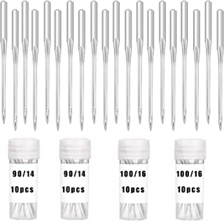 40 Pcs Sewing Machine Needles - Needles for Sewing Machine, Size 90/14 and 100/16, Box with Labels Compatible, Universal H...