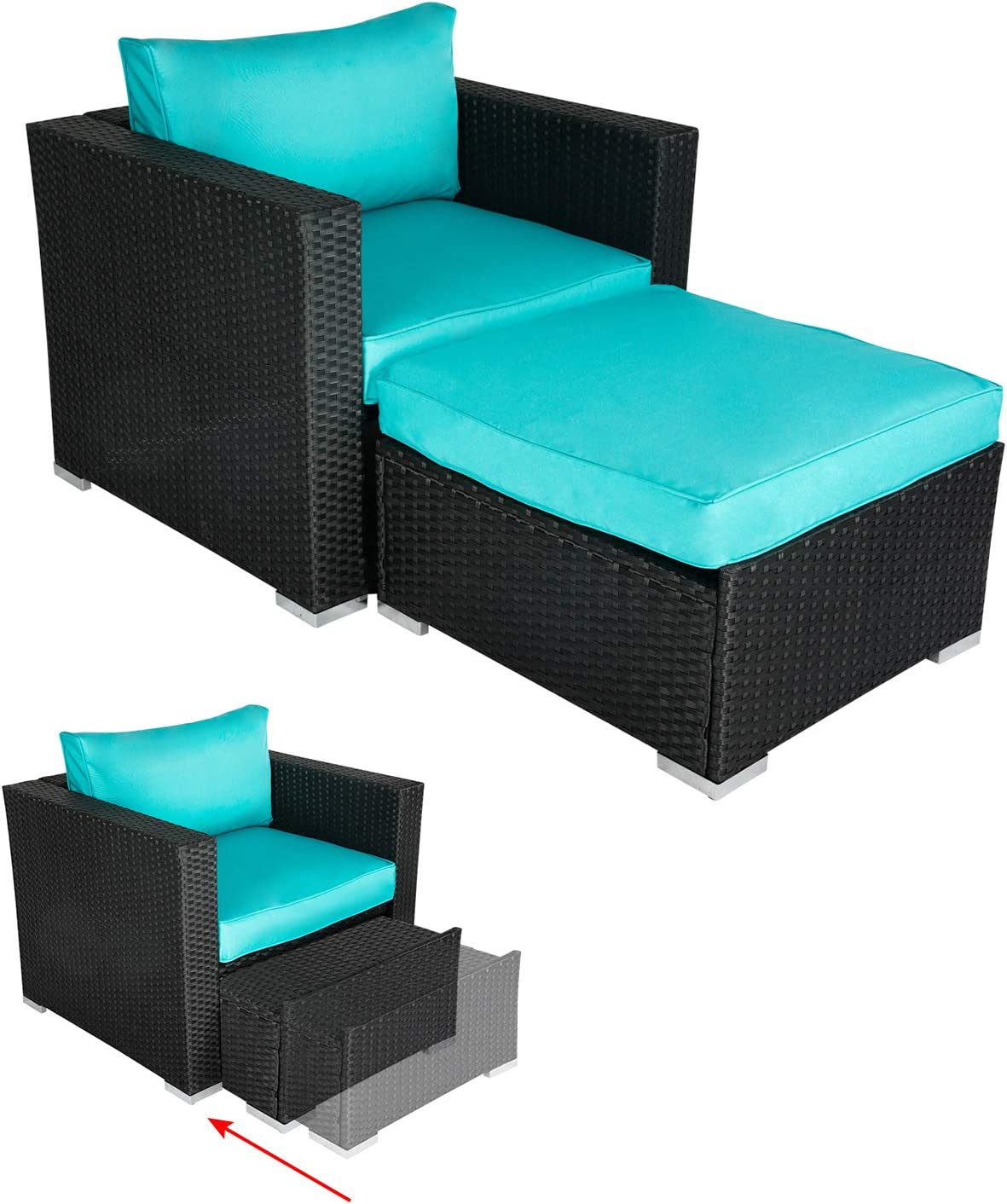 Kinbor PE Wicker Lounge Chair sale with Furniture Ottoman Cushioned Max 69% OFF