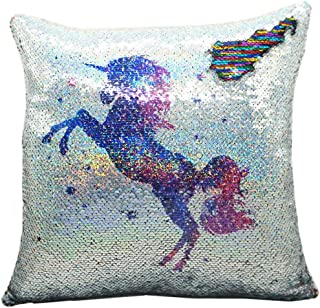 """URSKYTOUS Reversible Unicorn Sequin Pillow Case Decorative Mermaid Pillow Cover Color Changing Cushion Throw Pillowcase 16"""" x 16"""",Unicorn and Rainbow"""