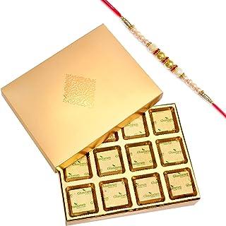 Ghasitaram Gifts Rakhi Gifts for Brothers Rakhi Chocolate Golden 12 pcs Roasted Almond Chocolate Box with Pearl Rakhi
