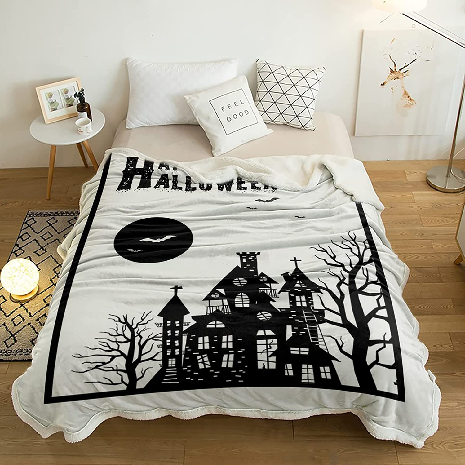 Sherpa Throw Blanket Halloween Haunted War House Cozy Super Soft Selling free shipping