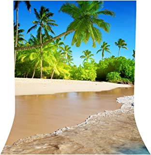 LYLYCTY 5x7ft Beach Themed Party Backdrop Sea Waves with Palm Trees Background Summer Backdrops for Wedding Birthday Party Photography Props LY032