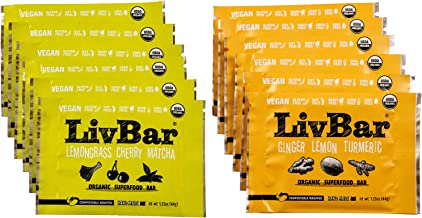 LivBar Organic All Natural Vegan Macro Snack Bar - Vegan Variety Pack, 12 Count - Healthy & Delicious Non GMO Gluten, Nut, Soy and Dairy Free Protein Bar with Low Sugar.