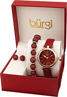 Burgi Ladies Watch Gift Set - Glitter Marker Watch with Leather Strap, Crystal Beaded Bracelet