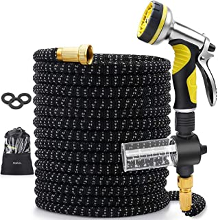 MOSFiATA Garden Hose 50ft Expandable, Water Hose Retractable with Soap Container 9 Function 3/4 Inch Solid Brass Bullet Connector Kink Free Latex Flexible Hoses for Yard Lawn Car Wash (Black)