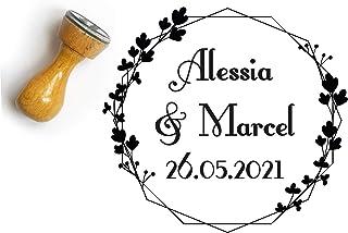 Timbro matrimonio personalizato, corona di fiori, forma rotonda, con nomi e data