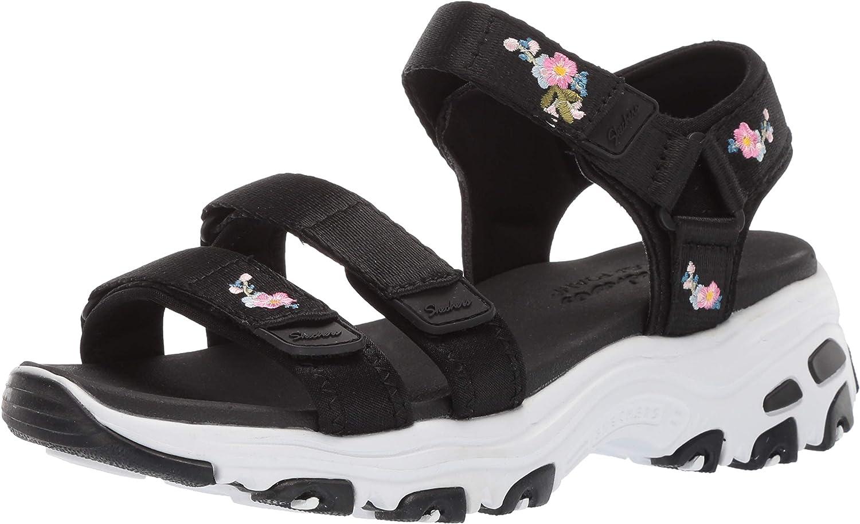Skechers Womens D'Lites - Awesome Blossom - Floral Embroidered Quarter Strap Sandal Sport Sandal