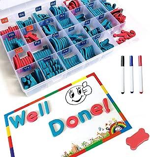 BincaBom 208 PCS Double Side Magnetic Letters kit Magnet Board Foam Alphabet Letters Classroom Spelling Learning Uppercase Lowercase Educational Toy Set for Classroom Kids Learning Spelling