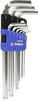 E-Value ボールポイント 六角棒レンチ セット 9本組 セミロングタイプ SL ELBW09SL