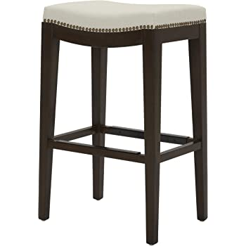 Wood Black Leather 30 Inch Height Stone /& Beam Elden Nailhead Trim Saddle Kitchen Counter Backless Bar Stool