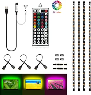 LEHOU TV Backlight, Multi-Color 5050 RGB Flexible LED Strip Light with 44key Remote, Background Bias Lighting for HDTV PC Monitor Home Theater Decoration (Black PCB Backlight)