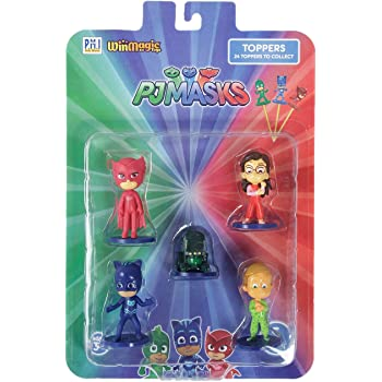 Pj Masks Pencil Toppers Blister 5 (S1) - Owlette, Catboy, Romeo's Lab, Amaya, Greg, for Kids 3+ & Above
