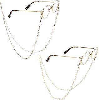 إكسسوارات النظارات للنساء، سلاسل لؤلؤ وقشرة (2 حزمة)