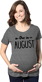 Maternity Due in August Funny T Shirts Pregnant Shirts Announce Pregnancy Month Shirt