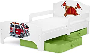 Leomark Children s Kids Wooden White Bed with Fire Truck Stable Prints with Drawers Storage for Bedding and Foam Mattress 140 Junior Toddler Cot