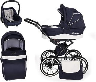 SaintBaby passeggino Retro Classic 2in1 3in1 Isofix seggiolino per bambini passeggino combi passeggino Black Marine 05 3in...