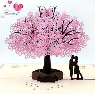 BESLIME 3D Pop up Tarjetas y Sobres, Tarjeta de San Valentín con Sobre, Tarjeta de Felicitación Pop Up 3D, Tarjeta de Felicitación de Boda e Invitación, Rosa Sakura Romántica Tarjeta Cumpleaños