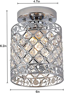 Create for Life Mini Style Modern Decor Crystal Flush Mount Ceiling Light Fixture Crystal Chandeliers Light Ceiling Lamp for
