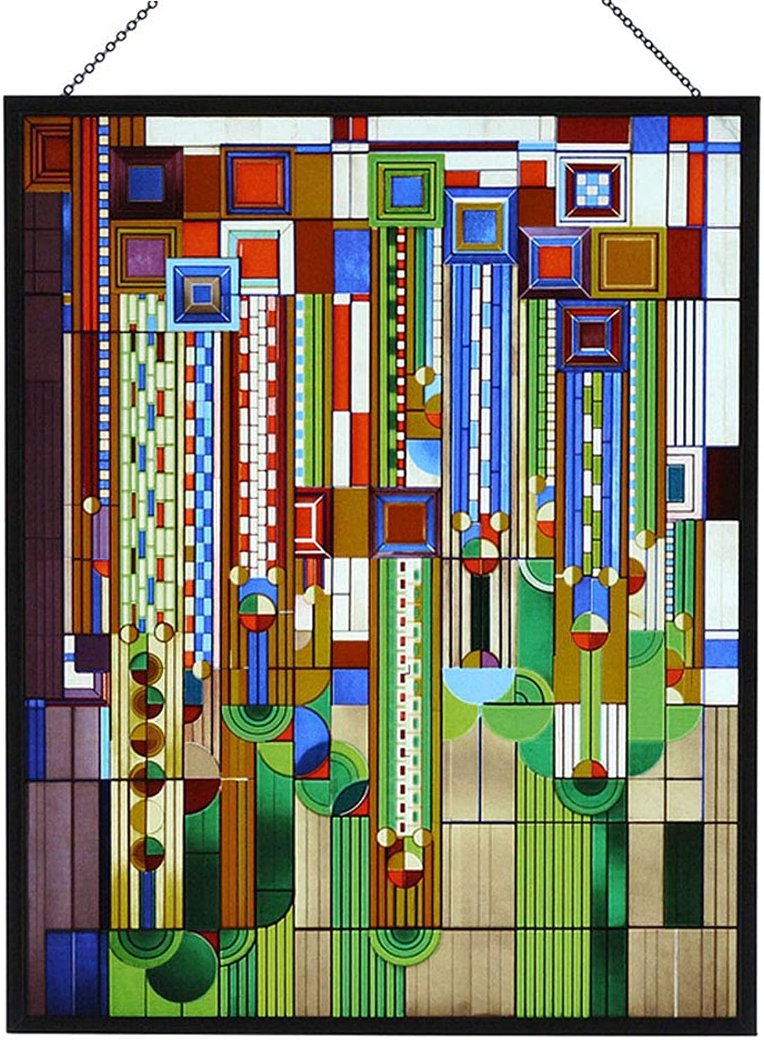 Frank Lloyd Wright Saguaro Stained Glass Metal Framed Ht 13.88  x 11