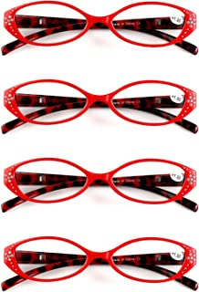 Aiweijia Unisex Oval 4 Pack reading glasses small glasses resin lens suitable