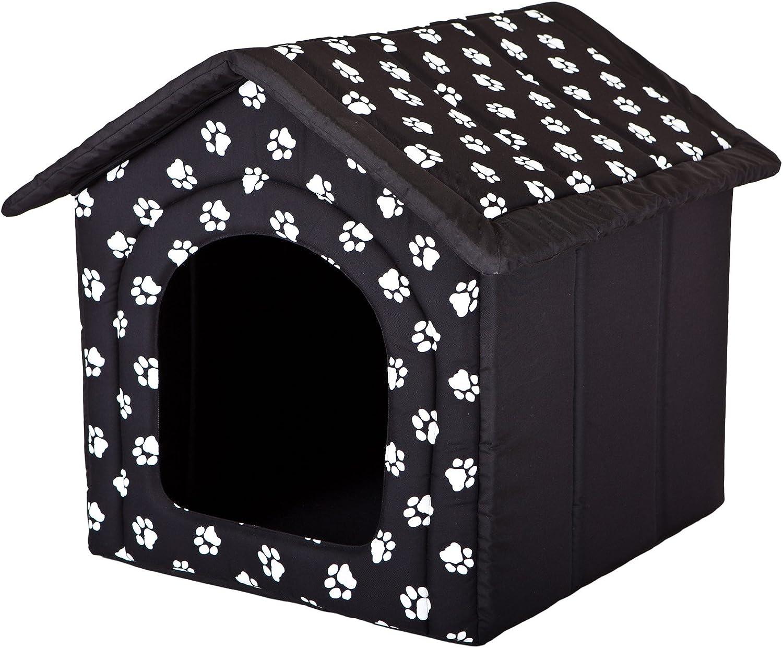 HOBBYDOG Dog House, Size 3, Black with Paws