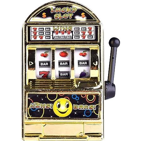 スロットマシンのおもちゃ、1つのミニカジノラッキー宝くじゲームマシンバー、スピニングリール付きスロットマシンバンク