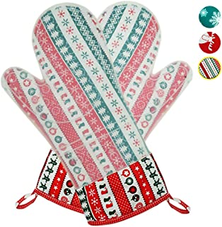 MeLonflo Heat Resistant Silicone Oven Mitts with Waterproof, Non-Slip Protective Pot Holder for 500 Degree, 2 Oven Gloves Christmas Printing Cotton Lining for Baking, Grilling, Cooking(1 Pair,Stripe)