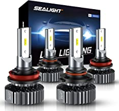 SEALIGHT H11 H9 Low Beam 9005 HB3 High Beam LED Headlight Bulbs, Combo Package CSP Led Chips Light Coversion Kits - 12000LM 6000K White