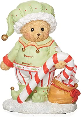 """Roman - Elf Bear Figure, Percy, Cherished Teddies Collection, 4"""" H, Resin and Wollastonite, Christmas Collection, Home Dcor, Adorable Gift, Durable, Beautifully Detailed"""