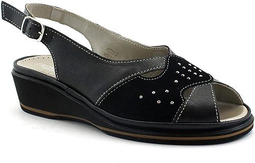 Grunland ELOI SA1413 Sandales Noires Femme Bracelet en Cuir avec Semelle compensée