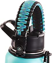 WaterFit Paracord Handle for Hydro Flask Wide Mouth Water Bottle - Improved Design Survival Strap Cord for Hydroflask with Safety Ring and Carabiner - Fits 12oz - 64oz Sports Water Bottle