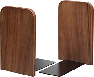 MaxGear Book Ends Walnut Bookends for Shelves, Non-Skid Bookend, Wood & Metal Book End, Book Stopper for Books/Movies/CDs/Video Games, 5.2 x 3.2 x 4.15 inches, Natural Walnut
