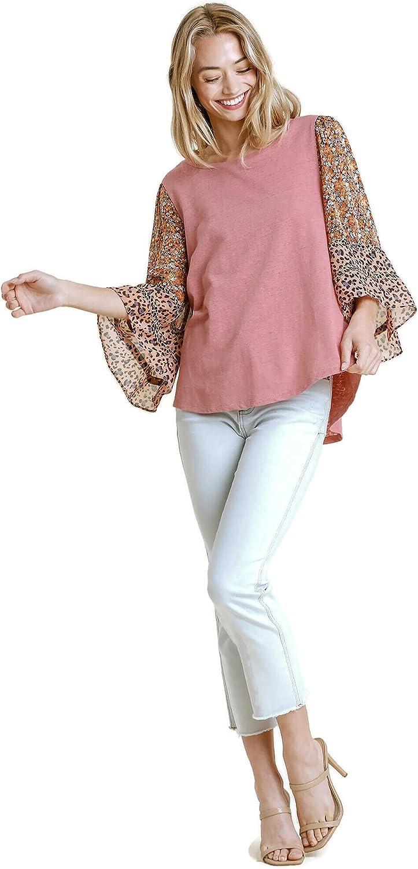 umgee USA Women's Bell Sleeve Mixed Print Tunic Top